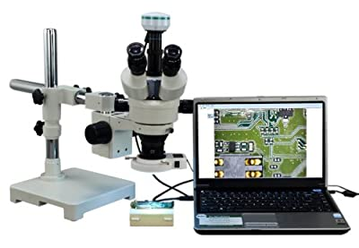 Stereoscope :: OMAX 3.5X-90X Digital Zoom Trinocular Single-Bar Boom Stand Stereo Microscope with 54 LED Ring Light and 2.0MP USB Digital Camera from Omax