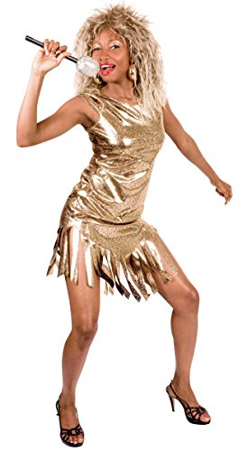 80s Tina Turner + Wig Ladies Fancy Dress 1980s Celebrity Rock Popstar - One Sizes 10 to 14