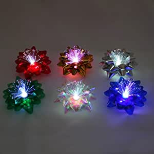 Pack of 6 Light up Gift Wrap Bows - Batteries Included