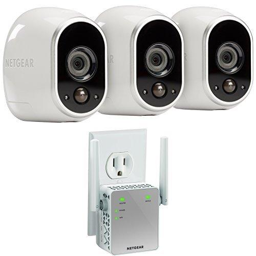 arlo smart home 3 camera kit wi fi dual band range extender garden security security monitors. Black Bedroom Furniture Sets. Home Design Ideas
