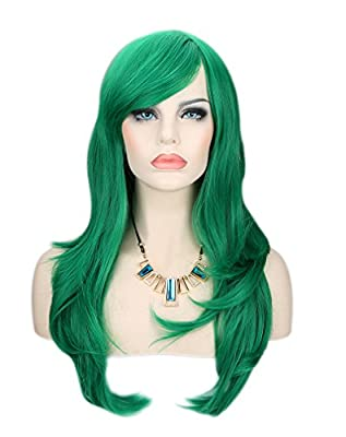 Kalyss® Women's Green Color Long Straight Cospaly Party Full Hair Wigs
