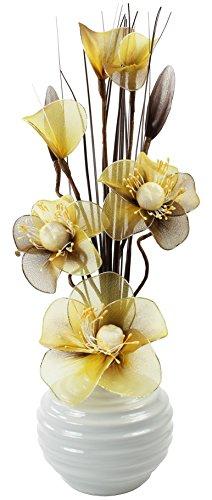 Flourish 790646 813 - Vaso lavorato a mano con fiori finti in nylon giallo/marrone, colore vaso: bianco