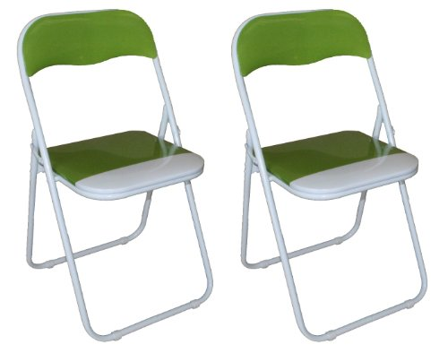 Pack of 2 x Green and White Padded Folding Chair - Great for, Office, Desk, Poker, Spare / Extra Seating