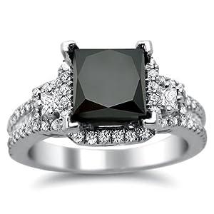 2.75ct Black Princess Cut Diamond Engagement Ring 18k White Gold