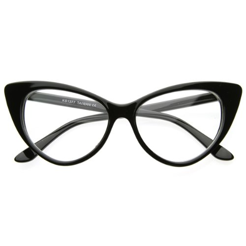 Super Cat Eye Glasses Vintage Inspired Mod Fashion Clear Lens Eyewear (Black)