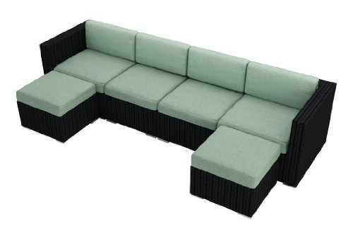 Harmonia Living Urbana 6 Piece Wicker Patio Sectional Sofa Set with Turquoise Sunbrella Cushions (SKU HL-URBN-6SECT-SP) photo