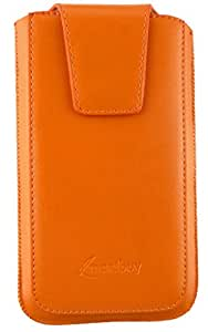Emartbuy® Sleek Range Orange PU Leather Slide in Pouch Cover ( LM2 ) With Pull Tab Suitable For ZTE Blade A515
