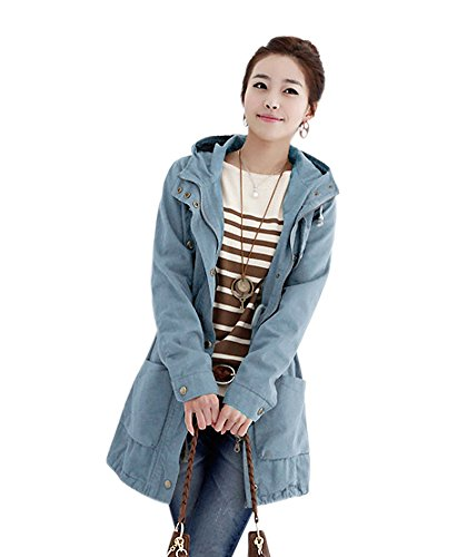 Dd2 Winter Cotton-Padded Windbreaker Female Plus-Size Hooded Jacket 04 (Xl,Blue)