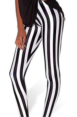 Amour - Women Rock X-ray Skeleton Bone Skull Leggings Tights Black (Regular Size, A- Stripes Black White)