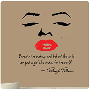 Marilyn Monroe Wall Decal Decor Quote Face Red Lips Large Nice Sticker Beneath the Makeup and Behind the Smile I Am Just a Girl Who Wishes for the World by Value Decals