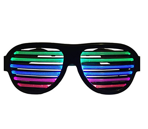 LED Light Up Glow Glasses musical shades Sound & Music Active LED Party Glasses with USB Charger. Best for Clubbing, EDM, Rave, Disco, Dub-step Party