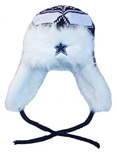 Dallas Cowboys Ladies NFL Knit Trooper Beanie Cap Hat Team Colors Girls by Dallas Cowboys Authentic Apparel
