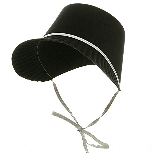 [Thanksgiving Hat Felt Pilgrim Black and White Bonnet Party Costume (1/pkg) Pkg/3] (Black Costumes Bonnet)