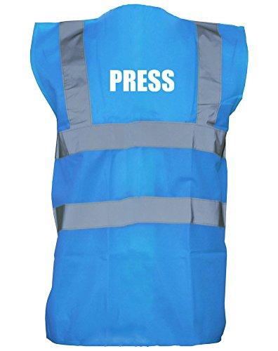 Press, Printed Hi-Vis Vest Waistcoat - Royal Blue/White M (Press Vest compare prices)