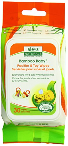 Aleva Naturals 30 Bamboo Baby Pacifier and Toy Wipes, 6 Count (Pack of 2) - 1