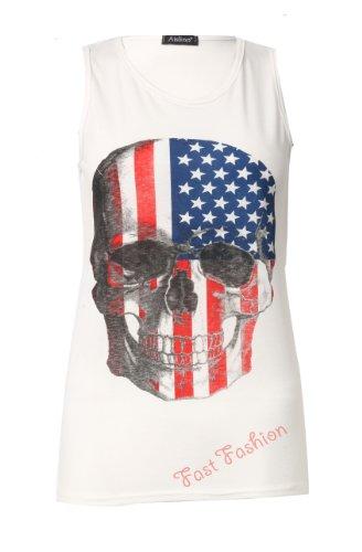 Womens Sleeveless USA Flag Skull Print Ladies