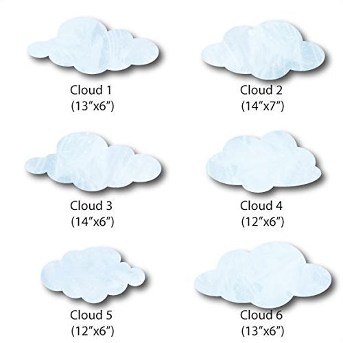 My Wonderful Walls Cloud Wall Stickers for Baby or Kids Room Walls, White/Light Blue