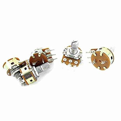 5pcs B50K 50K Ohm 6mm Knurled Shaft Linear Taper Potentiometer Pot