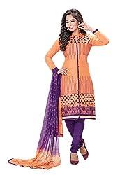 RK Fashion Womens Cotton Un-Stitched Salwar Suit Dupatta Material ( MITTAL-SANAM-7016-Orange-Free Size )