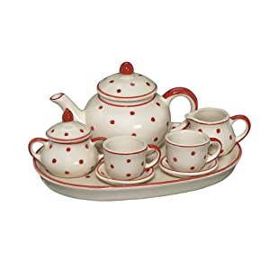 Andrea By Sadek Child's Doll Teaset Red Polka Dots