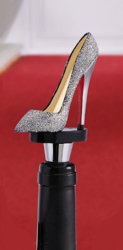Giftcraft Silver Glitter Shoe Wine Bottle Stopper