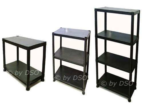 4 Tier Black Plastic Shelving Storage Unit 80kgs SU101