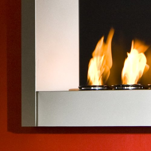 SEI Contemporary Wall Mount Gel Fuel Fireplace, Silver