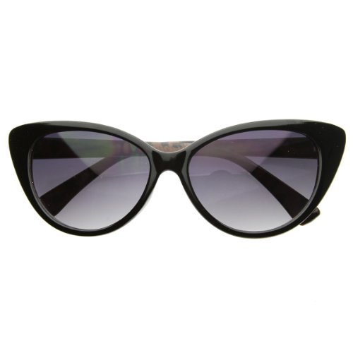 Super Cat Eye Sunglasses Fashion Womens Oversized Cateyes (Black-Print)