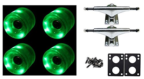 60Mm Green Led Wheels Night Light Skateboard Combo Trucks/Wheels/Bearings/Risers