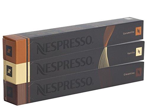 Nespresso-Kapseln-vanille-gelb-10x-Vanilio-10x-Caramelito-10x-Ciocattino-Original-fr-Nespresso-Maschinen