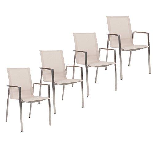 Stern Gartenmöbel Set Boston 4-teilig Stapelsessel aus Edelstahl mit Teakarmlehnen in Sand günstig