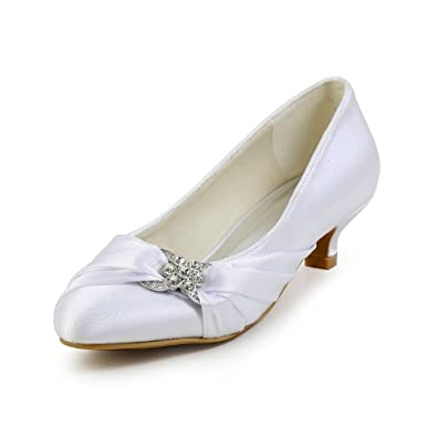 Minitoo GYAYL402 Womens Low Heel White Satin Evening Party Shoes Bridal Wedding Rhinestone Pumps 4 M US