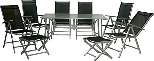Ib-Style Ib-Style - Jamaica Top Garden Furniture Table And Chair Set 9 Items Alu / Fabric Black