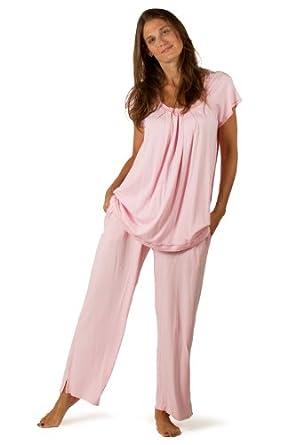 Women's Bamboo Pajama Sleep Set - Bamboo Bliss (Carnation, X-Small) Best Sleep Wear for Her WB0001-CRN-XS