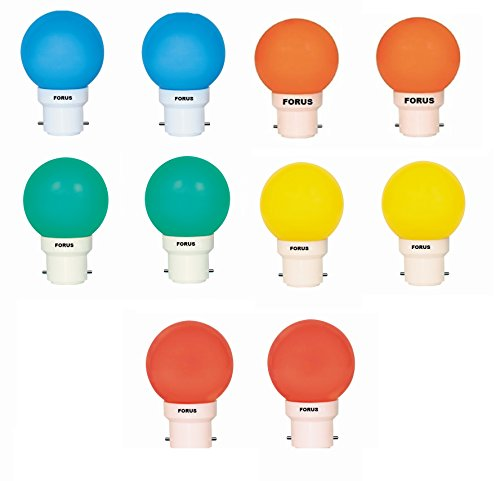 0.5W 45L Multicolor LED Bulb (Pack of 10)