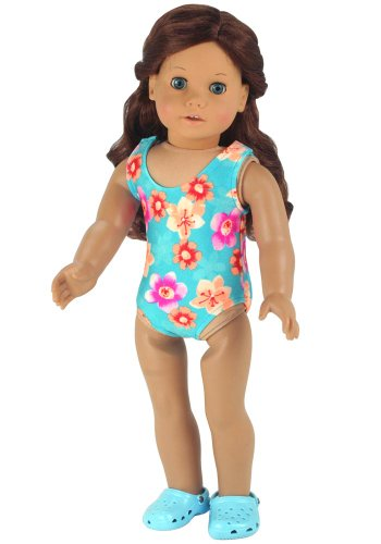 Doll Bathing Suit fits American Girls Dolls, Aqua 18 Inch Doll Swim Suit in Stretchy Fabric