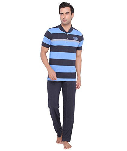 Mens-Blue-color-V-Neck-Top-Pajama-Set-by-Valentine