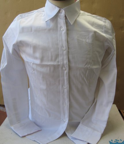 Seagate Collectible Womens Breast Cancer Awareness Button up Dress Shirt by Devon Jones - Large - White with Pink on the inside collar - 97% cotton 3% Spandex