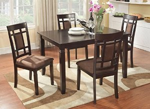 Roundhill Furniture Inworld 5 Piece Dining Set, Dark Cherry