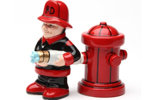 Fireman with Hose and Hydrant 4 Inch Ceramic Magnetic Salt and Pepper Shaker Set Novelty Gift