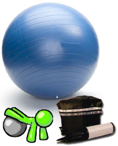 "Exercise Fitness Swiss Gym Fit Ball for Pilates Yoga Core training includes hand pump and travel bag - 26"" / 65cm Anti-Burst"