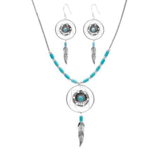 Turquoise and Sterling Silver Dream Catcher Earrings and Necklace Set 18