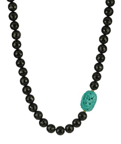 Single Carved Oval Turquoise on Faceted Black Onyx with Gold Over Sterling Silver Roundell and Clasp Necklace, 16