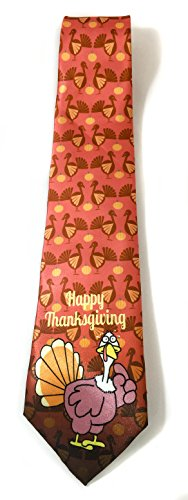 Stonehouse Collection Men's Thanksgiving Tie - Funny Novelty Thanksgiving Tie - Nervous Turkey (Funny Men Ties compare prices)