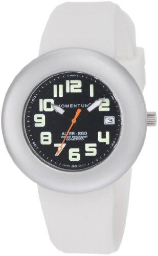 Momentum Alter Ego - Reloj analógico de mujer de cuarzo con correa de silicona blanca - sumergible a 100 metros
