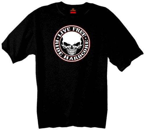 Hot Leathers Hardcore Stencil Skull T-Shirt (Black, Medium)