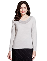 Per Una Mesh Yoke Sequin Embellished Knitted Top