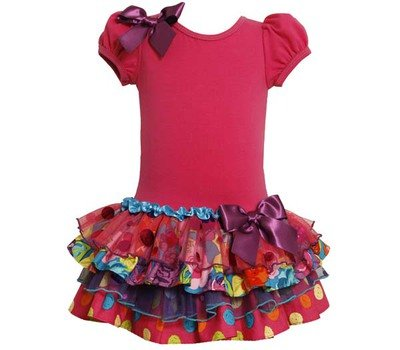 Bonnie Baby Baby-Girls Infant Sparkle Tiered Dress, Fuchsia, 12 Months front-905296
