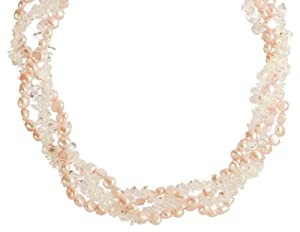 Pink Freshwater Cultured Pearl and Clear Crystal Chip Twister Bead Necklace,36