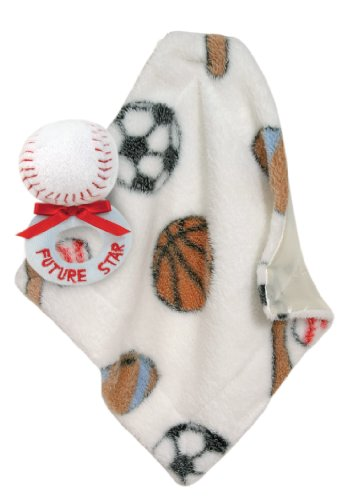 Stephan Baby Sports Fun Ultra Soft Fleece Blankie and Plush Rattle Gift Set, Baseball